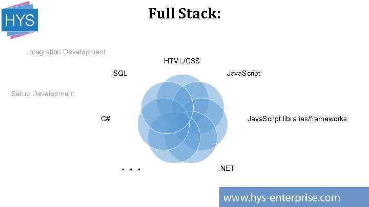 Full Stack: Integration Development HTML/CSS SQL Java. Script Setup Development C# Java. Script libraries/frameworks
