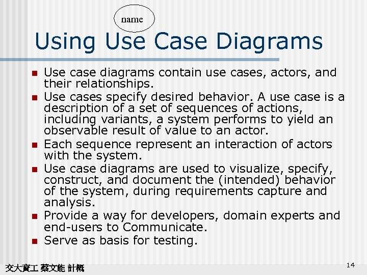 name Using Use Case Diagrams n n n Use case diagrams contain use cases,
