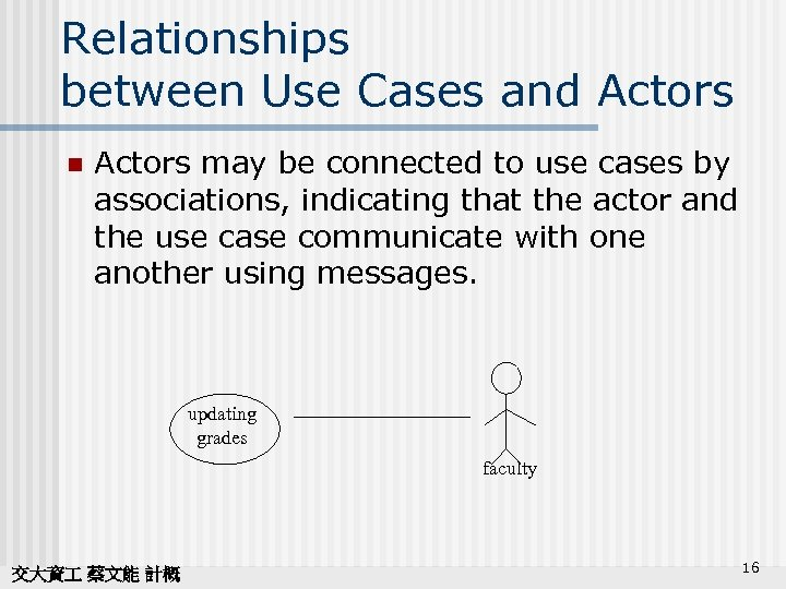 Relationships between Use Cases and Actors n Actors may be connected to use cases