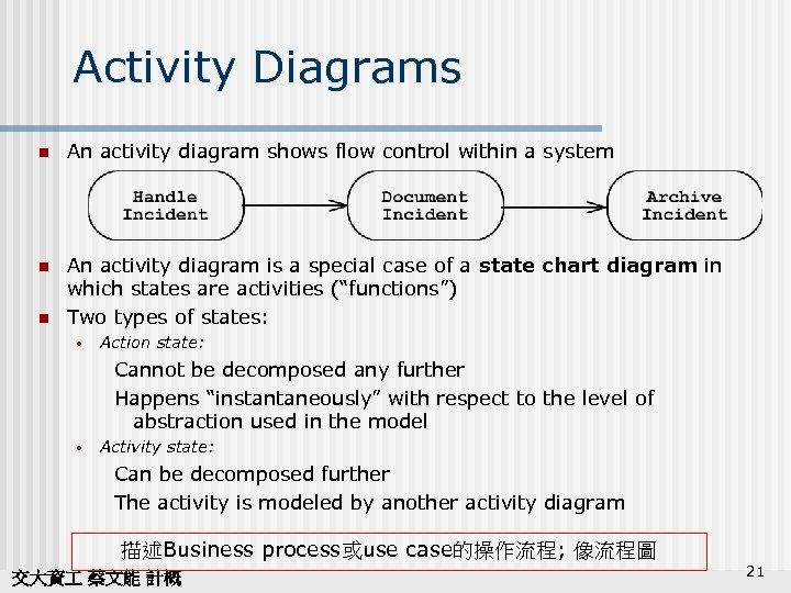 Activity Diagrams n An activity diagram shows flow control within a system n An