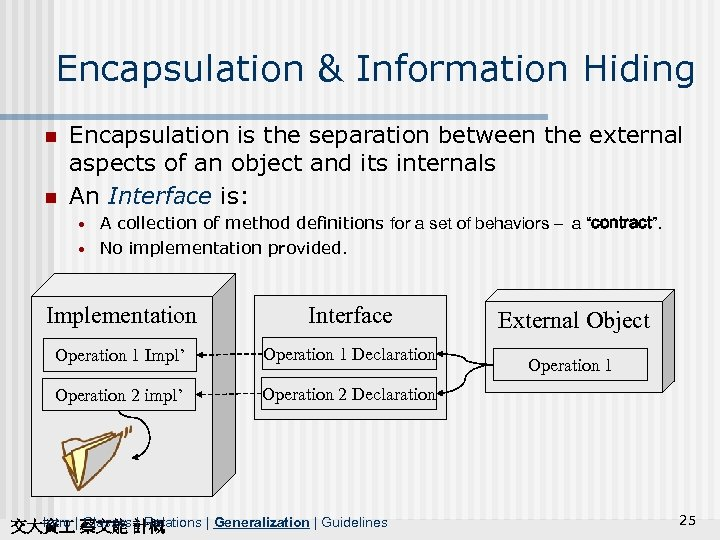 Encapsulation & Information Hiding n n Encapsulation is the separation between the external aspects