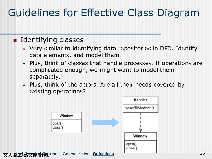 Guidelines for Effective Class Diagram n Identifying classes • • • Very similar to