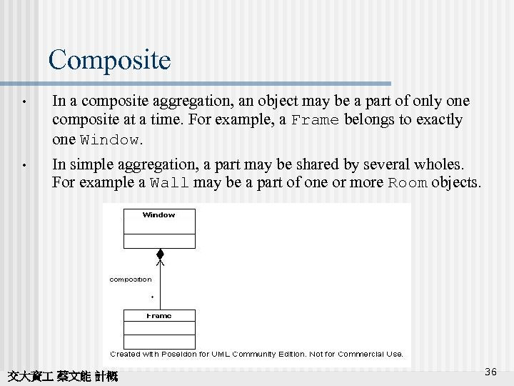 Composite • In a composite aggregation, an object may be a part of only