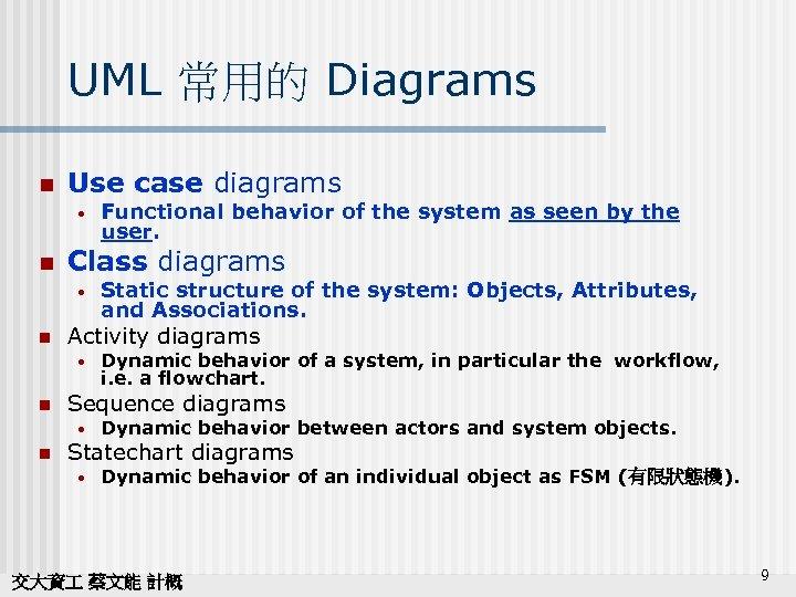 UML 常用的 Diagrams n Use case diagrams • n Class diagrams • n Dynamic
