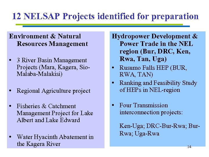 12 NELSAP Projects identified for preparation Environment & Natural Resources Management • 3 River