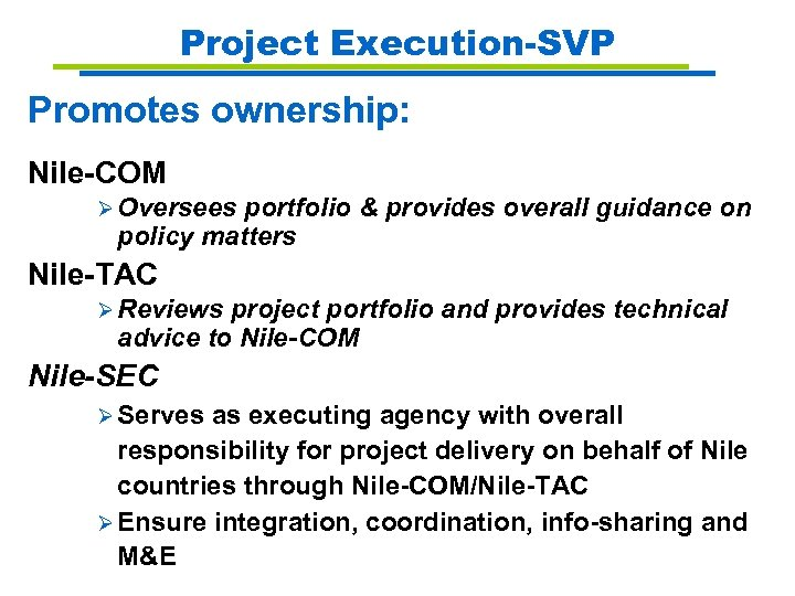 Project Execution-SVP Promotes ownership: Nile-COM Ø Oversees portfolio & provides overall guidance on policy