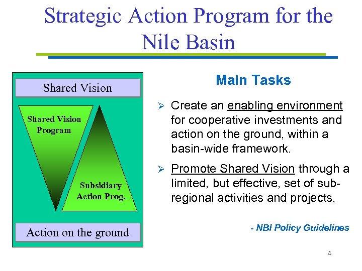 Strategic Action Program for the Nile Basin Main Tasks Shared Vision Ø Create an