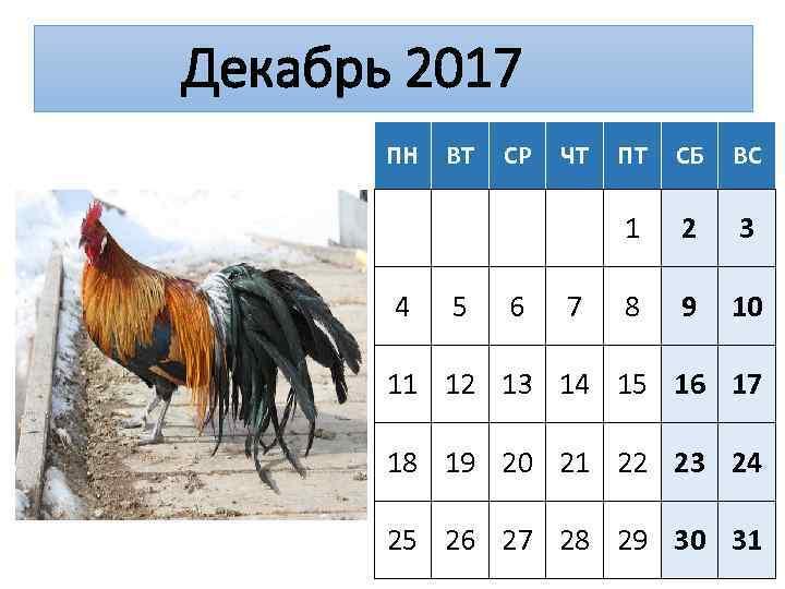 Декабрь 2017 ПН 5 СР 6 ЧТ 7 ПТ СБ ВС 1 4 ВТ