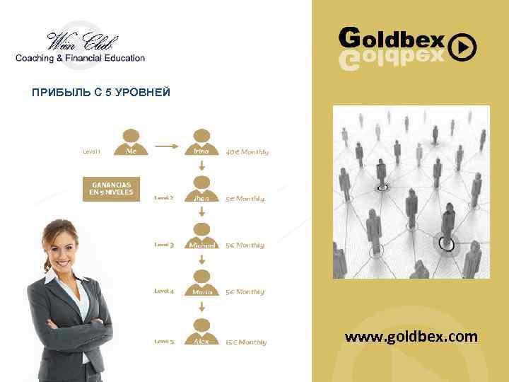 ПРИБЫЛЬ С 5 УРОВНЕЙ www. goldbex. com
