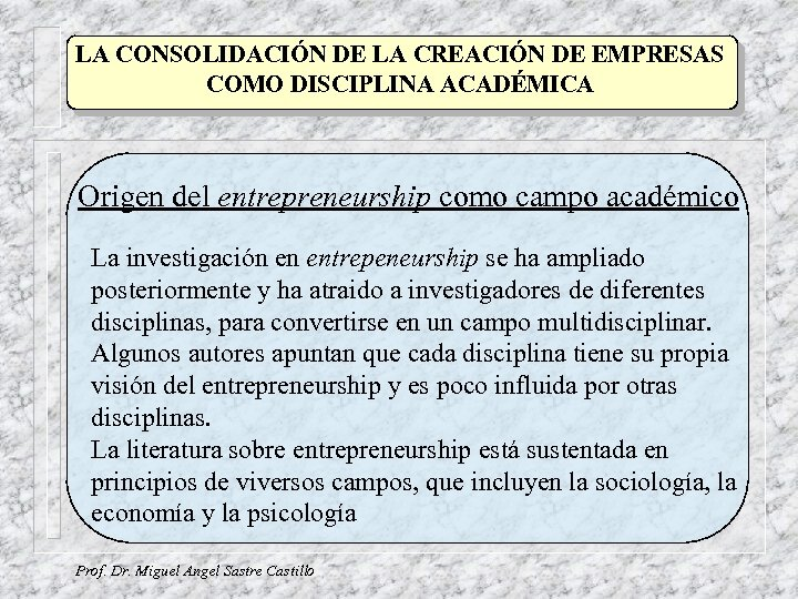 LA CONSOLIDACIÓN DE LA CREACIÓN DE EMPRESAS COMO DISCIPLINA ACADÉMICA Origen del entrepreneurship como