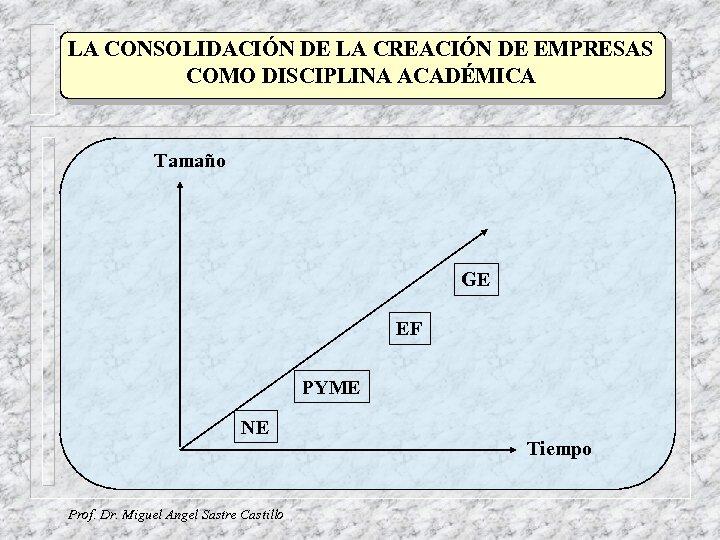 LA CONSOLIDACIÓN DE LA CREACIÓN DE EMPRESAS COMO DISCIPLINA ACADÉMICA Tamaño GE EF PYME
