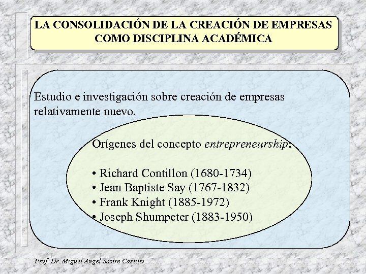 LA CONSOLIDACIÓN DE LA CREACIÓN DE EMPRESAS COMO DISCIPLINA ACADÉMICA Estudio e investigación sobre
