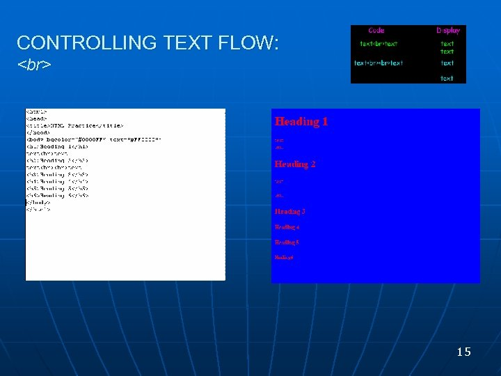 CONTROLLING TEXT FLOW: 15