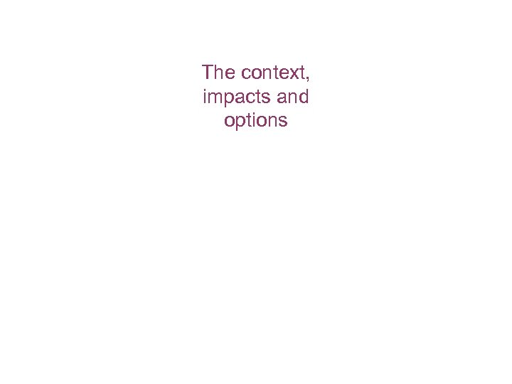 The context, impacts and options