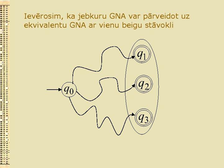 Ievērosim, ka jebkuru GNA var pārveidot uz ekvivalentu GNA ar vienu beigu stāvokli