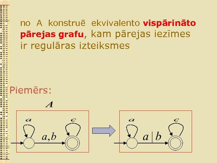 no A konstruē ekvivalento vispārināto pārejas grafu, kam pārejas iezīmes ir regulāras izteiksmes Piemērs: