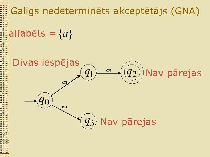Galīgs nedeterminēts akceptētājs (GNA) alfabēts = Divas iespējas Nav pārejas