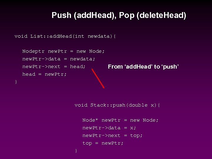 Push (add. Head), Pop (delete. Head) void List: : add. Head(int newdata){ Nodeptr new.
