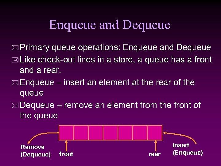 Enqueue and Dequeue * Primary queue operations: Enqueue and Dequeue * Like check-out lines