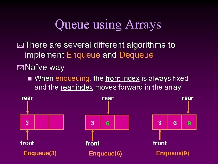 Queue using Arrays * There are several different algorithms to implement Enqueue and Dequeue