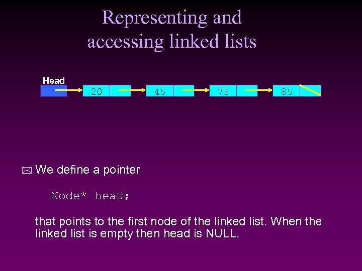 Representing and accessing linked lists Head 20 * 45 75 85 We define a