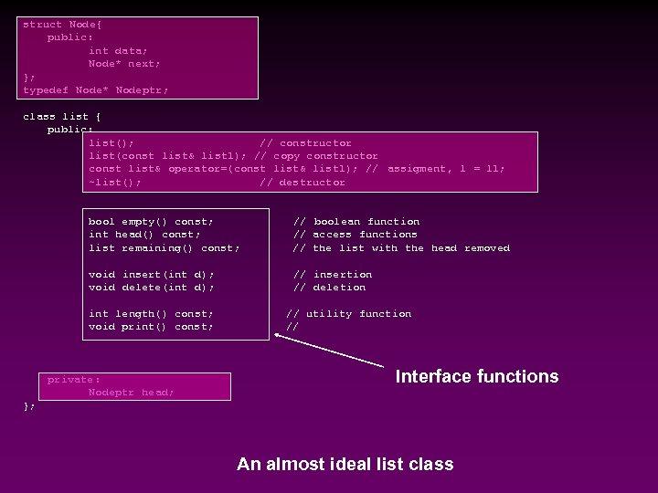 struct Node{ public: int data; Node* next; }; typedef Node* Nodeptr; class list {