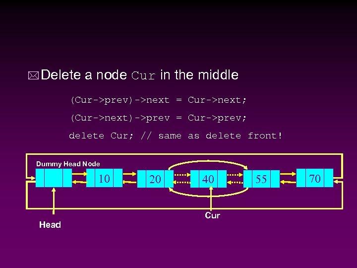 * Delete a node Cur in the middle (Cur->prev)->next = Cur->next; (Cur->next)->prev = Cur->prev;
