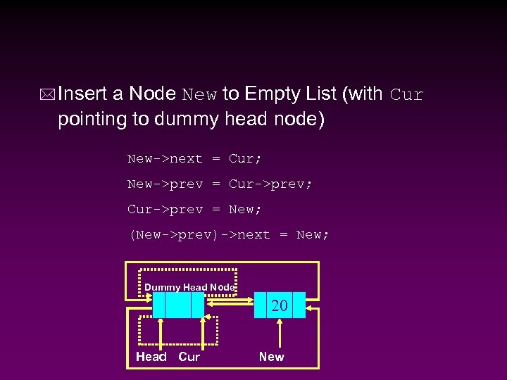 * Insert a Node New to Empty List (with Cur pointing to dummy head