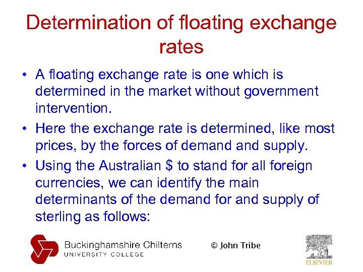 Determination of floating exchange rates • A floating exchange rate is one which is