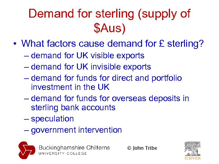 Demand for sterling (supply of $Aus) • What factors cause demand for £ sterling?
