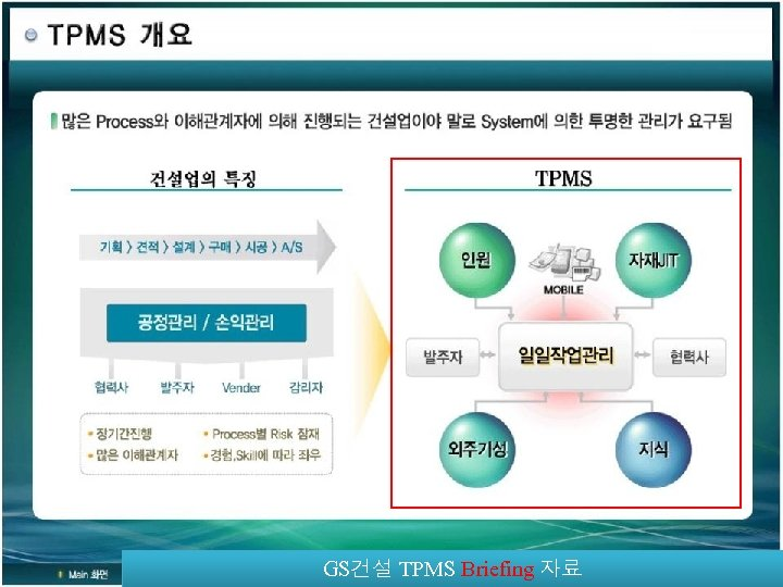 GS건설 TPMS Briefing 자료