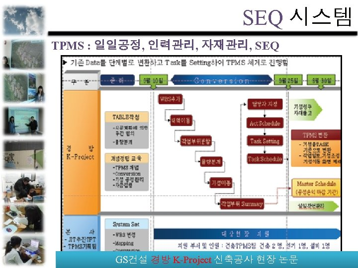 SEQ 시스템 TPMS : 일일공정, 인력관리, 자재관리, SEQ GS건설 경방 K-Project 신축공사 현장 논문