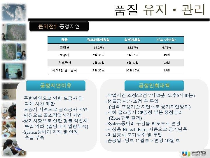 품질 유지ㆍ관리 문제점 2. 공정지연 공종 당초완료예정일 실제완료일 비고<지연일> 공정율 18. 09% 13. 37%