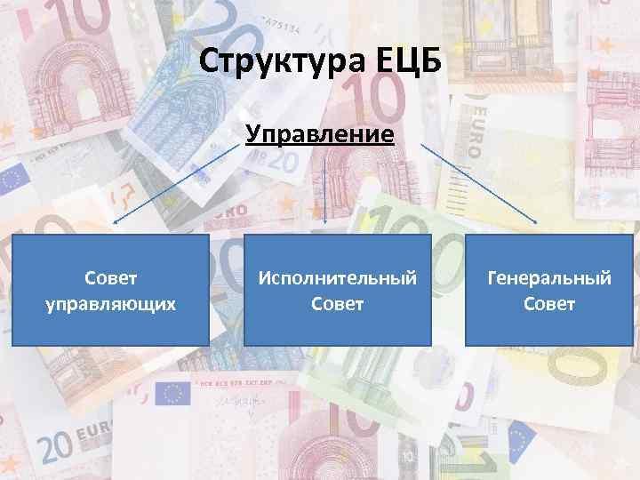 Структура ЕЦБ Управление Совет управляющих Исполнительный Совет Генеральный Совет