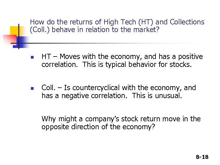 How do the returns of High Tech (HT) and Collections (Coll. ) behave in