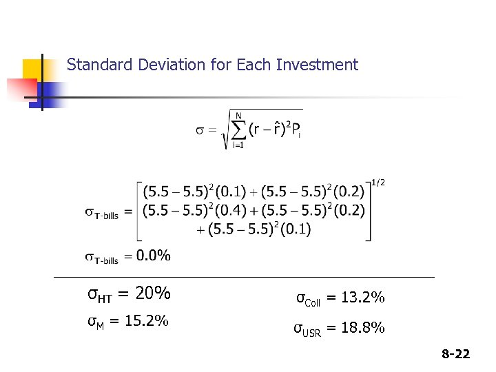 Standard Deviation for Each Investment σHT = 20% σColl = 13. 2% σM =