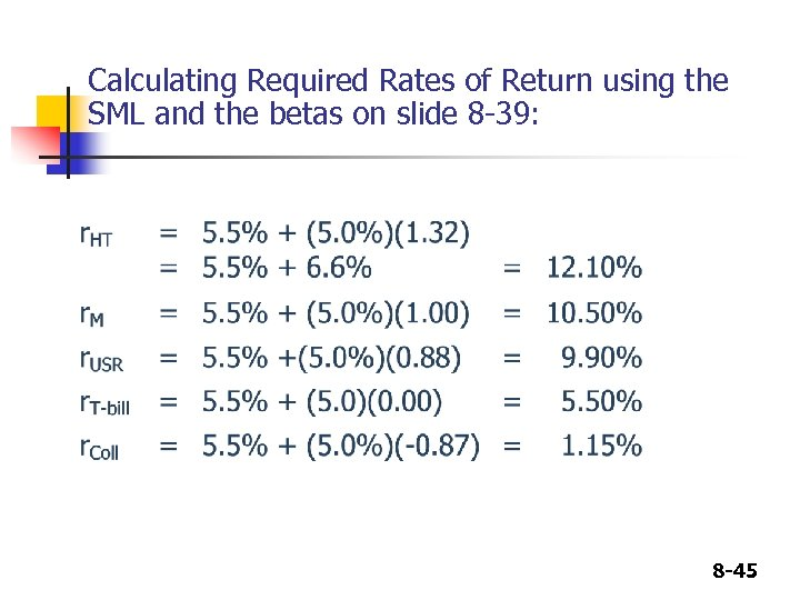 Calculating Required Rates of Return using the SML and the betas on slide 8