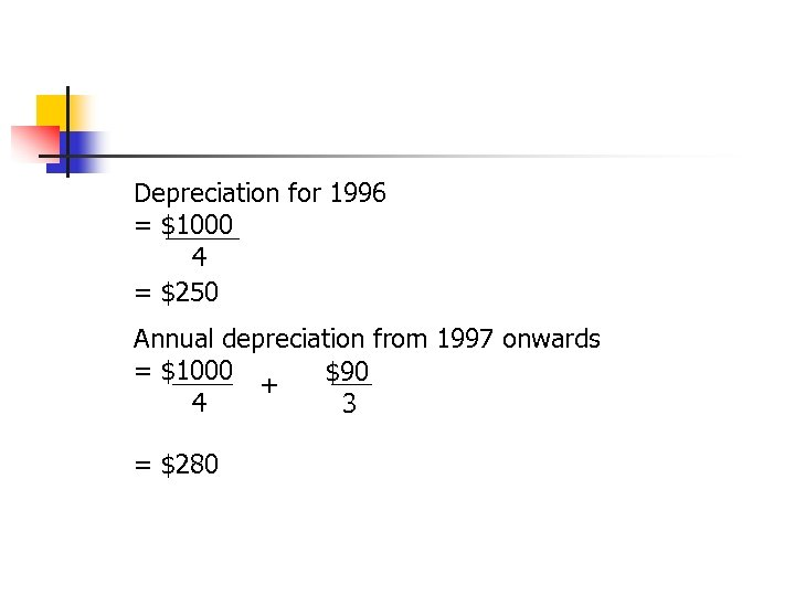 Depreciation for 1996 = $1000 4 = $250 Annual depreciation from 1997 onwards =