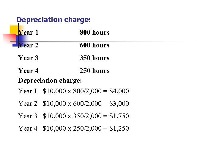 Depreciation charge: Year 1 800 hours Year 2 600 hours Year 3 350 hours