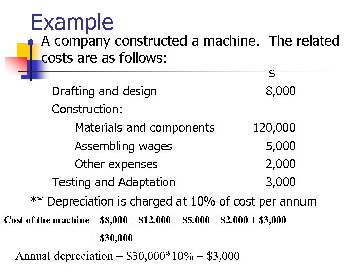 Example n A company constructed a machine. The related costs are as follows: Drafting
