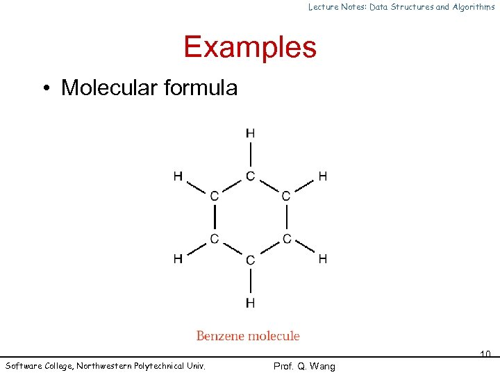Lecture Notes: Data Structures and Algorithms Examples • Molecular formula Software College, Northwestern Polytechnical