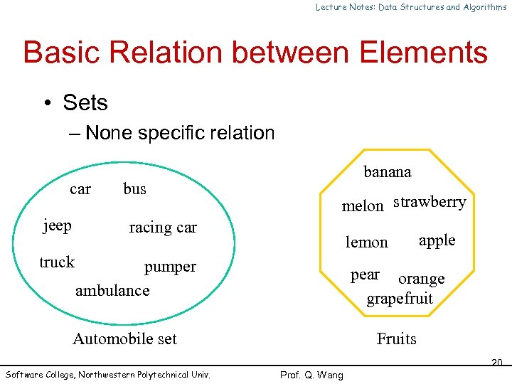 Lecture Notes: Data Structures and Algorithms Basic Relation between Elements • Sets – None