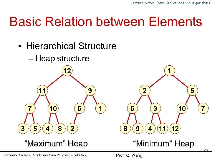 Lecture Notes: Data Structures and Algorithms Basic Relation between Elements • Hierarchical Structure –