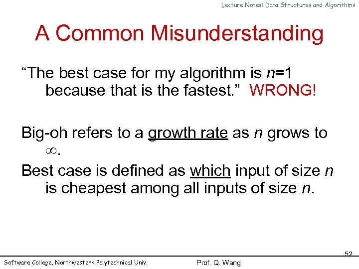 "Lecture Notes: Data Structures and Algorithms A Common Misunderstanding ""The best case for my"