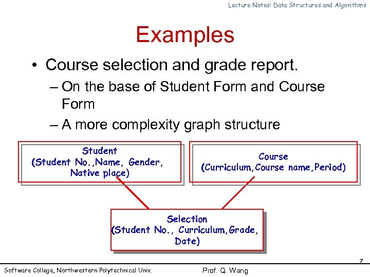 Lecture Notes: Data Structures and Algorithms Examples • Course selection and grade report. –