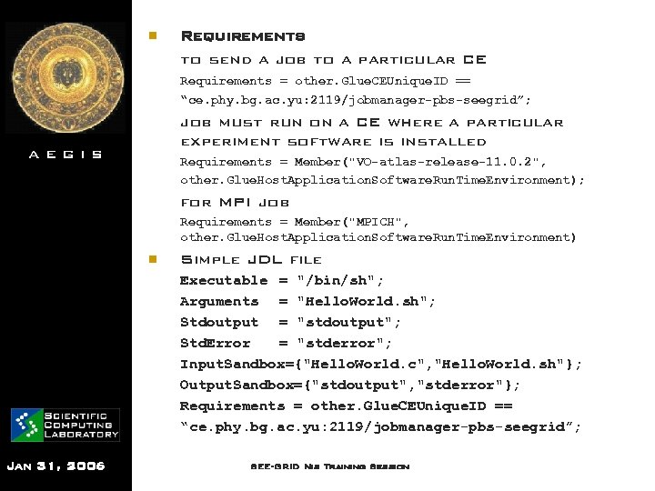 n Requirements to send a job to a particular CE Requirements = other. Glue.