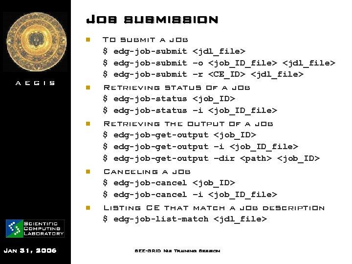 Job submission n AEGIS To submit a job $ edg-job-submit <jdl_file> $ edg-job-submit –o