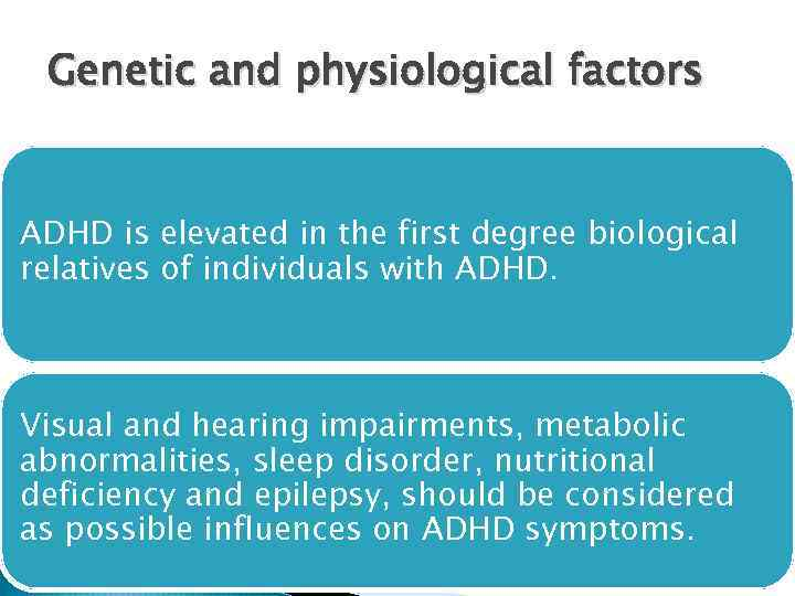 social and bio genetic influences of attention deficit Attention deficit hyperactivity disorder: an social skills genetic factors contribute to the symptoms of adhd and the occurrence of the disorder.