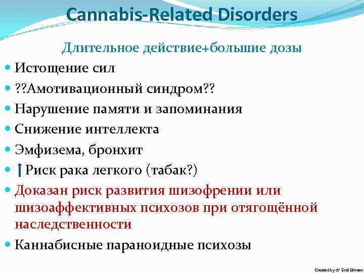Cannabis-Related Disorders Длительное действие+большие дозы Истощение сил ? ? Амотивационный синдром? ? Нарушение памяти