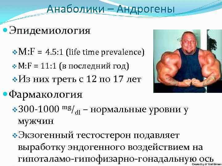 Анаболики – Андрогены Эпидемиология v. M: F = 4. 5: 1 (life time prevalence)